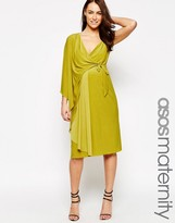 Asos Asymmetric One Shoulder Wrap Midi Dress