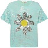 M&Co Sequin daisy frill sleeve foil t-shirt