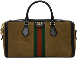 Gucci Brown Suede Medium Ophidia Top Handle Bag