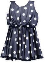 Helena Sleeveless Polka-Dot Dress, Size 4-6