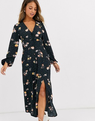 Miss Selfridge maxi dress in floral print-Black