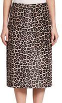 Theory Sahara Printed Leather Midi Skirt
