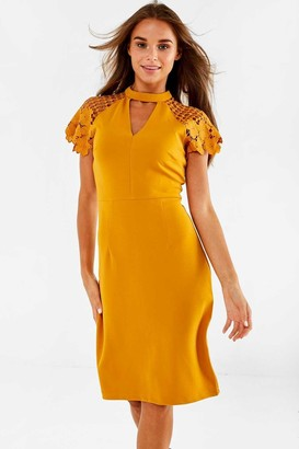 Iclothing iClothing Gaia Occasion Dress With Lace Sleeve in Mustard