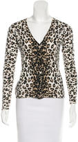 Magaschoni Cashmere Leopard Print Cardigan