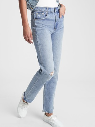 Gap Sky High Distressed Straight Leg Jeans
