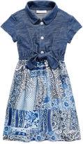 Bonnie Jean Short-Sleeve Tie-Front Shirtdress - Preschool Girls 4-6x