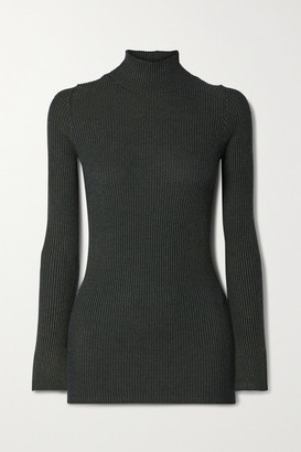 By Malene Birger Cissus Ribbed-knit Turtleneck Top - Green