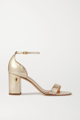 Jennifer Chamandi Massimo 85 Embellished Metallic Leather Sandals - Gold