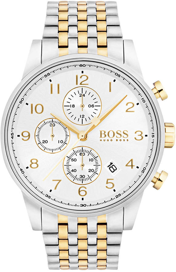 BOSS Men's Chronograph Navigator Two-Tone Bracelet Watch 44mm 1513499