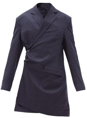 Martine Rose Geneve Logo-jacquard Wool-crepe Dress - Navy