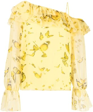 Blumarine Ruffled One-Shoulder Blouse