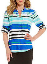 Calvin Klein Striped Crepe de Chine Roll-Sleeve Blouse