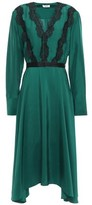 Jason Wu Asymmetric Lace-trimmed Silk-satin Midi Dress