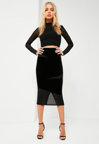 Missguided Black Velvet Textured Insert Midi Skirt