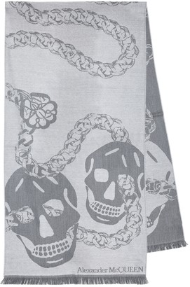 Alexander McQueen Skull-print wool scarf