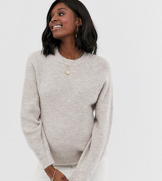 Asos DESIGN Maternity fluffy sweater with balloon sleeve-Beige