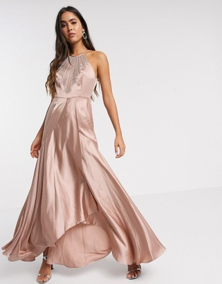 Asos DESIGN maxi dress in satin with embellished neck in rose gold