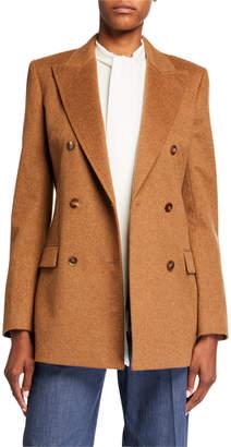 Lafayette 148 New York Saxon Double Breasted Loro Piana Melange Cashmere Jacket