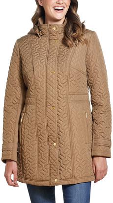 Weatherproof Women's Anoraks & Parkas DUNE - Tan Hooded Quilted Walker Jacket - Women