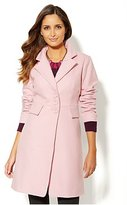 Pink Single-Breasted Wool-Blend Coat
