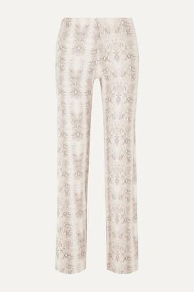 Leset Sophia Snake-print Ribbed Stretch-modal Slim-leg Pants - Gray