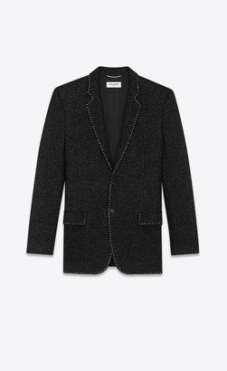 Saint Laurent Blazer Jacket Wool Cardigan Jacket With Sequin-embroidered Trims Black 34