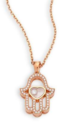 Chopard Happy Diamonds Pave Hamsa Hand Diamond & 18K Rose Gold Pendant Necklace