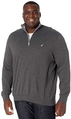 Nautica Big Tall Sweater Mock Neck (Charcoal Heather) Men's Clothing
