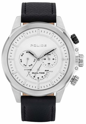 Police Men's Stainless Steel Quartz Watch with Leather Strap