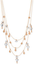 INC International Concepts Rose Gold-Tone Crystal and Bead Layer Necklace, Only at Macy's