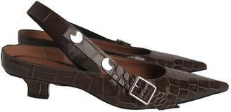 Victoria Beckham Khaki Leather Heels