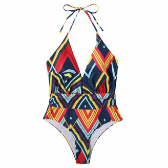 Ways Women Sling Tie Dye Tankini Swimsuits Deep V Neck One Piece Tummy Control Swimsuit Swimwear Cover Ups for Women Sexy Strappy Bandage Bikini Bathing Suits Plus Size(S
