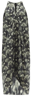 Petar Petrov Aspen Fog Floral-print Silk Maxi Dress - Black White