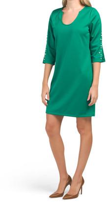 Quarter Sleeve Printed Jersey Slit Sleeve Dress