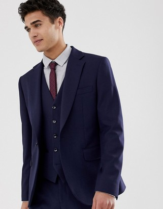 Moss Bros muscle fit suit jacket in navy