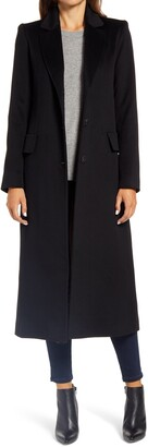 Fleurette Notch Collar Long Wool Coat