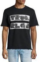 True Religion Logo Short-Sleeve Sweatshirt, Black
