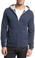 Loro Piana Cotton Fleece Hoodie Sweatshirt, Indigo