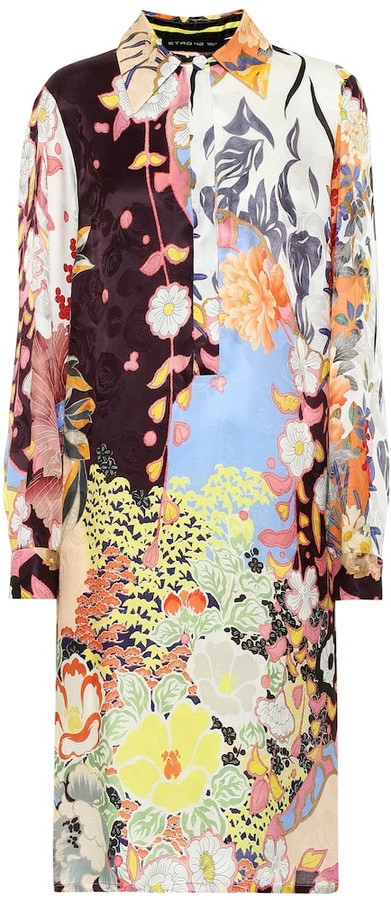 Etro Floral silk-blend shirt dress