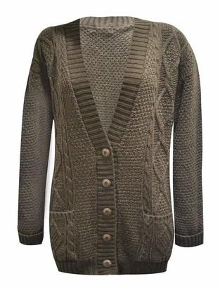 21Fashion Ladies Fancy Chunky Cable Knitted Grandad Cardigan Womens Pockets V Neck Sweater Brown Medium/Large