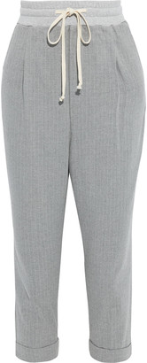 Twenty Montreal Cropped Pinstriped Cotton-blend Twill Track Pants