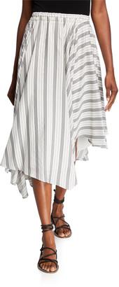 Brunello Cucinelli Striped Poplin Asymmetric Skirt