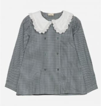 Thumbnail for your product : Margaux Collar Detail Checked Khaki Blouse - 12