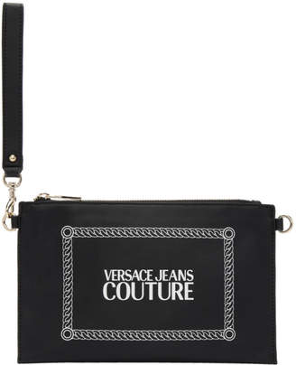 Versace Black Stamped Logo Pouch