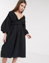 Lost Ink midi dress with balloon sleeves and full skirt in textured fabric
