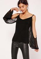 Missguided Cold Shoulder Long Sleeved Top Black