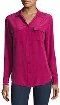 Equipment Slim Signature Long-Sleeve Shirt, Damson