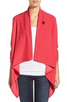 Bobeau Petite Women's One-Button Fleece Wrap Cardigan