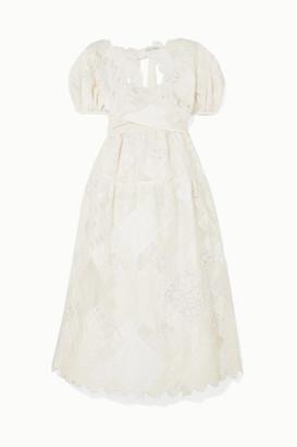 Cecilie Bahnsen Sophie Bille Brahe Tessa Patchwork Crepe, Organza, Poplin, Cloque And Crocheted-lace Dress - White