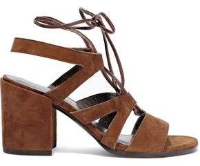 Stuart Weitzman Lace-up Cutout Suede Sandals
